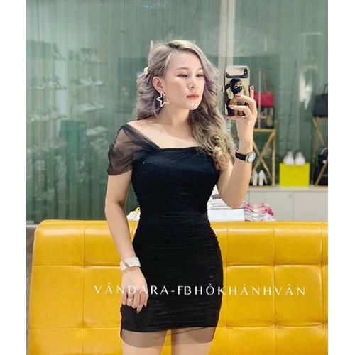 Đầm kate voan nữ đen xinh