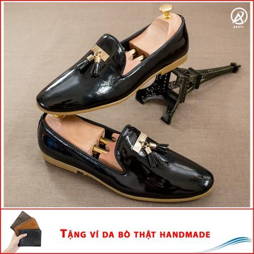 Giày lười nam đẹp đế khâu chuông vàng da bóng giày lười nam được chú trọng mang tính thời trang cao êm ái và năng động chống trơn trượt chất liệu da t