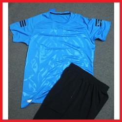 Bộ thể thao cổ tròn vân họa tiết nam màu xanh dương