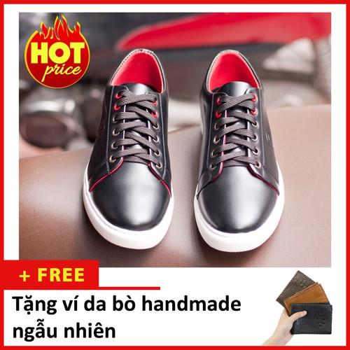 Giày thể thao nam buộc dây aroti da trơn màu đen đế khâu chắc chắn -đen m510-v  -lc