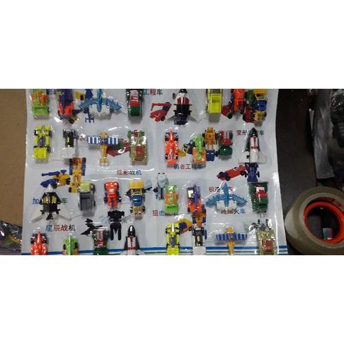 Set 4 bộ 32mô hình xe tàu và máy bay lắp ráp kết hợp thành robot 38001