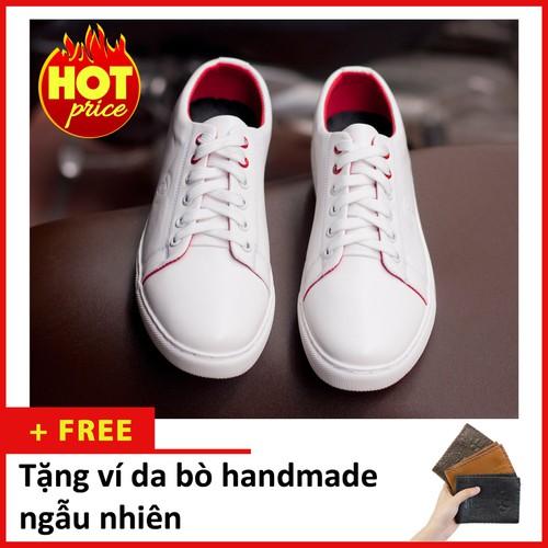 Giày thể thao nam buộc dây aroti da trơn màu trắng đế khâu chắc chắn trắng m510-v  -lc