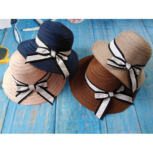 Nón cói đi biển mềm vành rộng đính nơ thời trang - gập được kèm 1 xốp lót nón