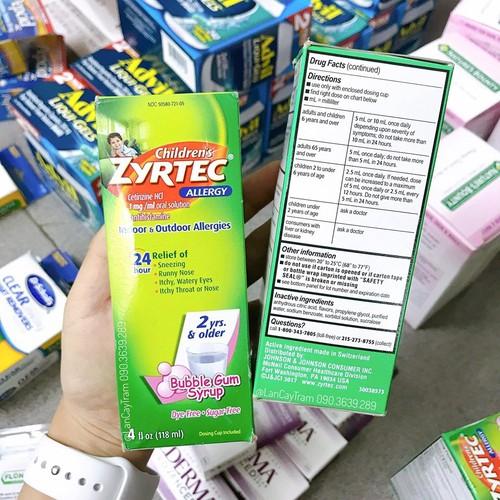 Siro chống dị ứng và trị cảm cho trẻ em Zyrtec 118ml