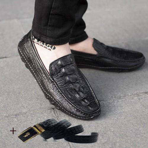 giày mọi nam dập vân cá sấu|tặng kèm dây lưng