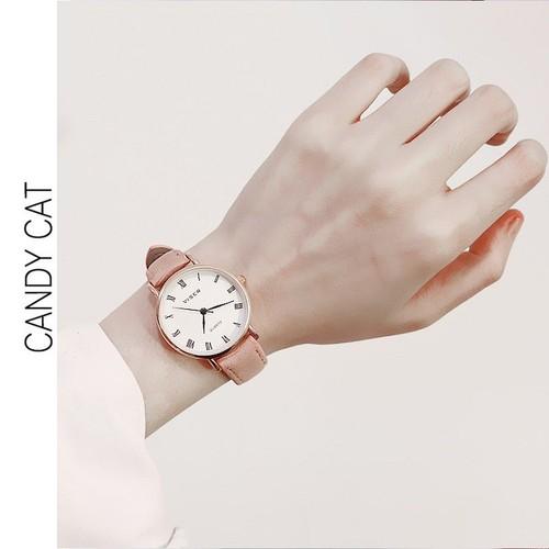 Đồng hồ đẹp dây da - mặt sapphire - korea - supper one