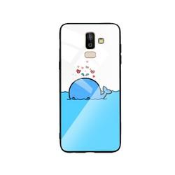 Ốp Lưng cho điện thoại Samsung Galaxy J8 - Mặt Kính Cường Lực -  0287 DOLPHIN02