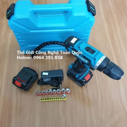 Bộ máy khoan pin 21v bắt vít, vặn ốc, khoan sắt, khoan gỗ sửa chữa đa năng 2pin 2 tốc độ và bộ phụ kiện tặng kèm 1 dây chuyển động nối dài - 12119074 , 19774008 , 15_19774008 , 880000 , Bo-may-khoan-pin-21v-bat-vit-van-oc-khoan-sat-khoan-go-sua-chua-da-nang-2pin-2-toc-do-va-bo-phu-kien-tang-kem-1-day-chuyen-dong-noi-dai-15_19774008 , sendo.vn , Bộ máy khoan pin 21v bắt vít, vặn ốc, khoan
