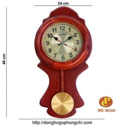đồng hồ gỗ treo tường quả lắc W305