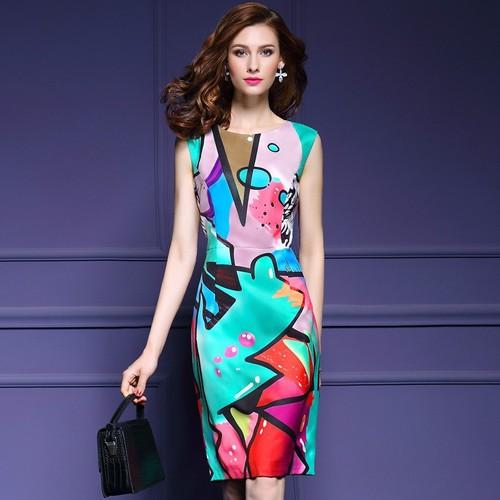 Đầm ôm kiểu nữ họa tiết lạ 6d1015