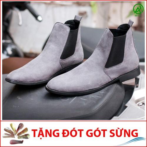 Giày chelsea boot nam cao cổ da buck cổ chun màu xám phong cách hàn quốc- xám-dd+ cb548-lc
