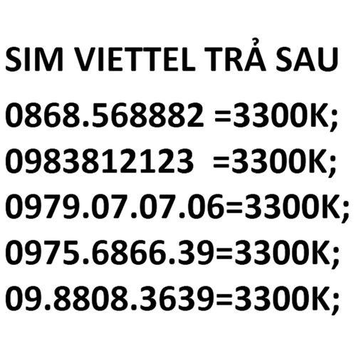 Sim viettel - 12112027 , 19763142 , 15_19763142 , 3300000 , Sim-viettel-15_19763142 , sendo.vn , Sim viettel