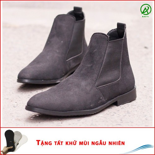 Giày chelsea boot nam cao cổ có chun dễ sỏ da buck màu đen - cb548-t  -lc
