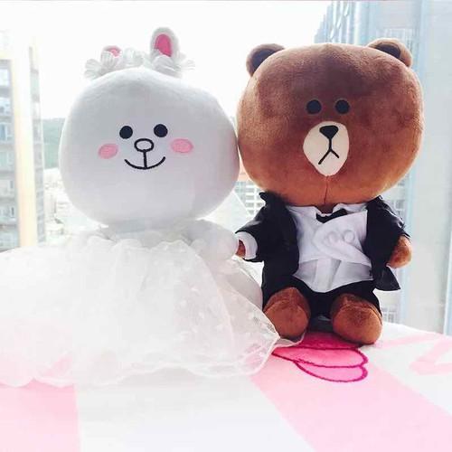 Thú bông gấu brown cô dâu chú rể