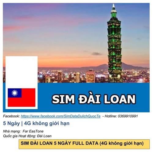 Đài loan 5 ngày full data 4g
