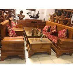 Bộ Sofa Pháo Gỗ Gõ Đỏ Gồm 6 món