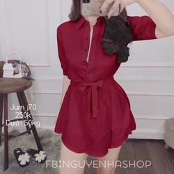 Đầm nữ sơ mi thắt eo