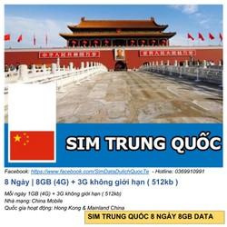 SIM TRUNG QUỐC 8 NGÀY 8GB DATA