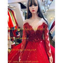 áo cưới đỏ đô tay dài kết kim tuyến kết sắc sảo sang trọng