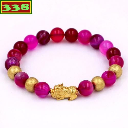 Vòng đeo tay tỳ hưu inox vàng - chuỗi thạch anh hồng sọc 8 ly vtahsthvb8 - vòng tay phong thủy