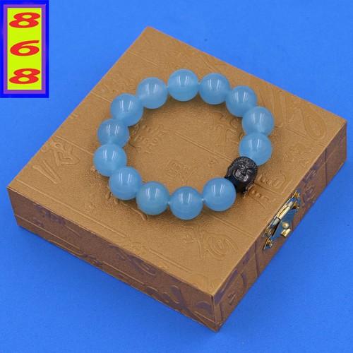 Vòng đeo tay thạch anh xanh biển 14 ly cẩn hạt phật a di đà inox đen vtaxbnle14 + hộp gỗ