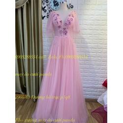 áo cưới hồng tùng suôn phale kết đi bàn dạ tiệc