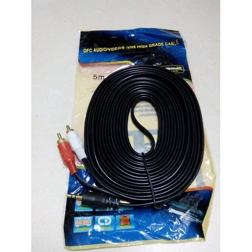 Cáp âm thanh dây loa 1 ra 2 - dây loa 3.5mm ra 2 đầu av bông sen 5m