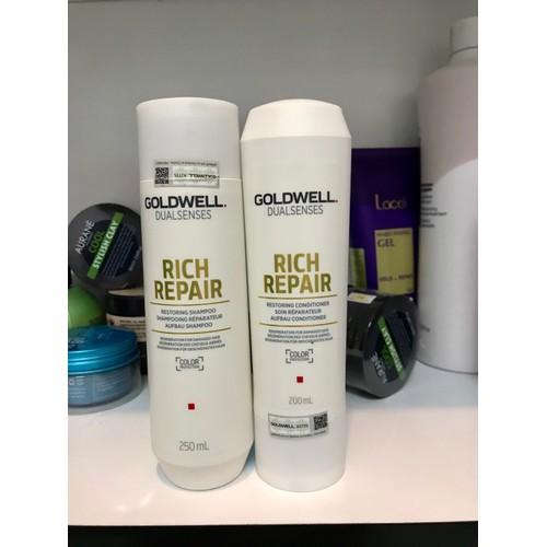 Dầu gội xả goldwell rich repair chữa trị tóc hư tổn khô xơ 250ml+200ml