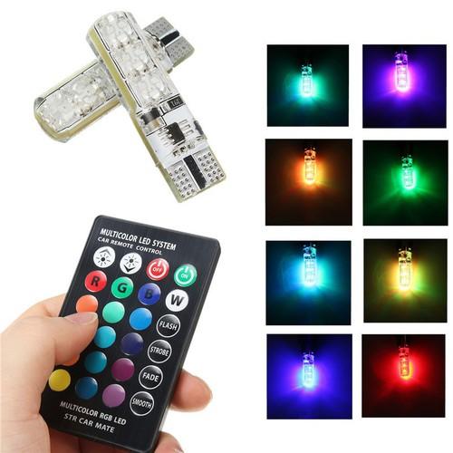 Đèn led demi t10 có remote chỉnh đổi 16 màu