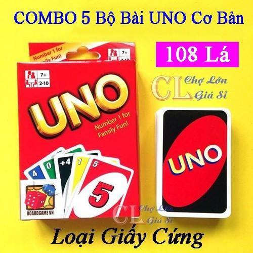 Combo 5 bộ bài ubo cơ bản 108 lá - bài uno giấy cứng - bài uno giá rẻ