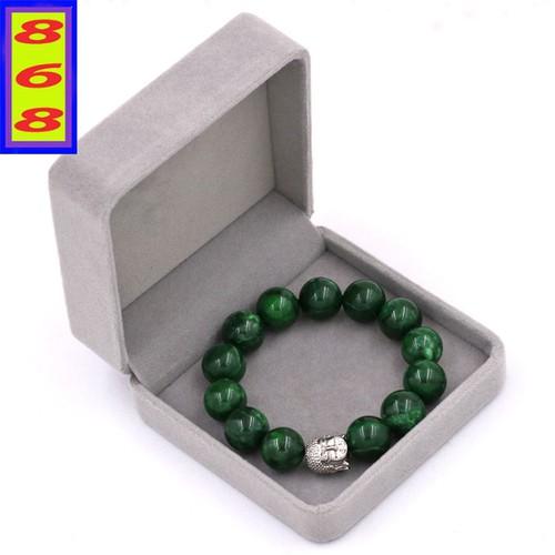 Vòng đeo tay cẩm thạch đông ninh 14 ly cẩn hạt phật a di đà inox bạc vctdnnlt14 + hộp nhung
