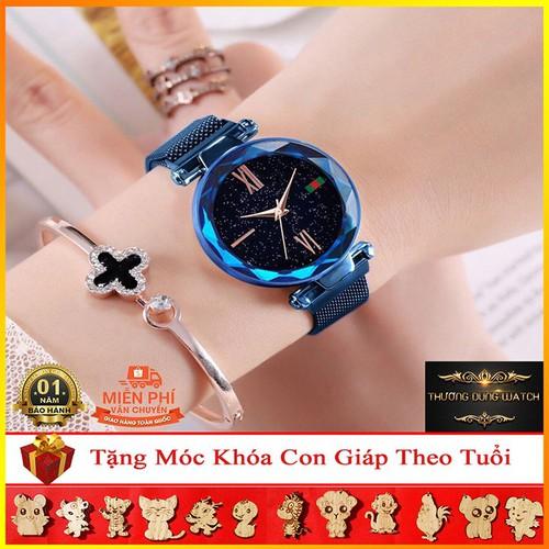 Đồng hồ nữ thời trang gc0160 mặt tròn không số dây nam châm cao cấp - xanh