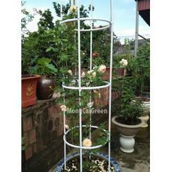 Khung tháp leo hoa hồng - màu trắng - khung trụ cho hoa leo cao 2,2m x rộng 0,4m