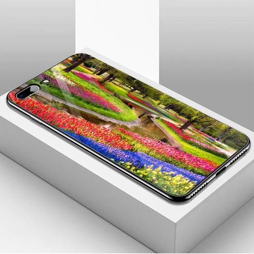 Ốp kính cường lực cho điện thoại iphone 7 plus  -  8 plus - vườn hoa ms vhoa016