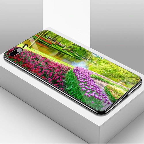 Ốp kính cường lực cho điện thoại iphone 7 plus  -  8 plus - vườn hoa ms vhoa017