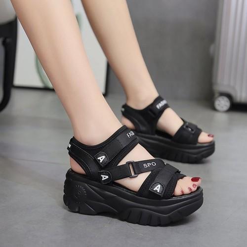 Giày sandal đế bánh mì, sandan quai ngang dán , đế cao 5cm s116
