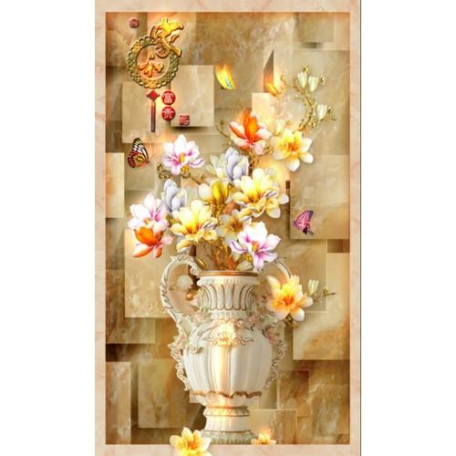 Tranh dán tường 3d mẫu lọ hoa