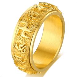 Nhẫn titan xoay 360 Khắc Úm Ma Ni Bát Minh Hồng mang lại may mắn tài lộc