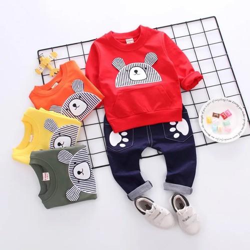 Combo 3 bộ quần áo thu đông cho bé trai bé gái từ 1-5 tuổi- mẫu gấu kute