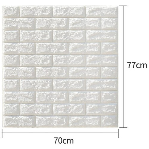 Combo 5 tấm xốp dán tường 3d giả gạch 70x77cm loại 7mm màu trắng