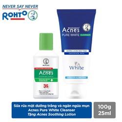 Sữa rửa mặt dưỡng trắng và ngăn ngừa mụn Acnes Pure White Cleanser 100g+ Tặng Acnes Soothing Lotion 25ml
