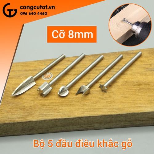 Bộ 5 đầu khắc gỗ 3mm-8mm