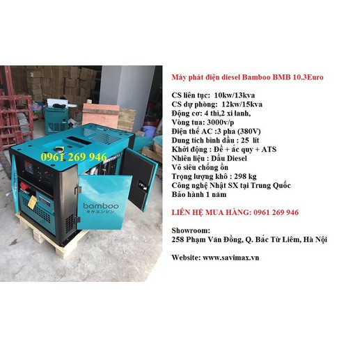 Máy phát điện chạy dầu 10kw điện 3 pha bamboo 10.3 euro