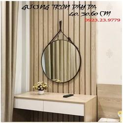 Gương tròn dây da treo tường đường kính D40 cm