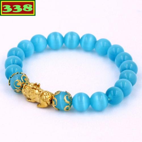 Vòng đeo tay tỳ hưu inox vàng - chuỗi đá mắt mèo xanh biển 8 ly vmexbthhkv8 - vòng tay phong thủy