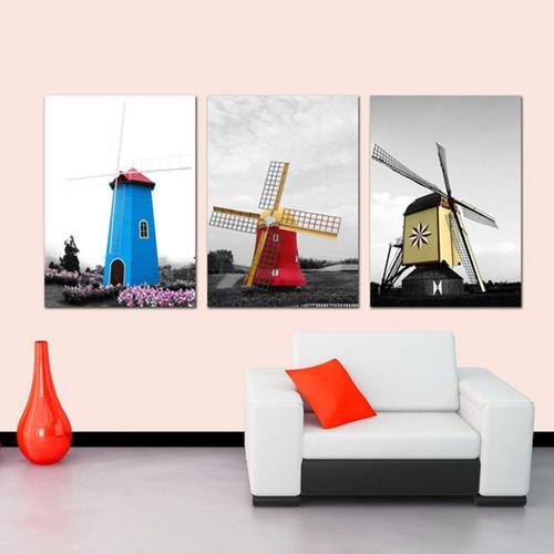 Bộ 3 tranh trang trí i tranh treo tường cối xay gió fm01sd281