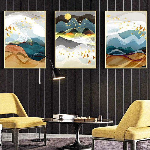 Bộ 3 tranh trang trí i tranh treo tường trừu tượng đàn chim vàng fm01sd339