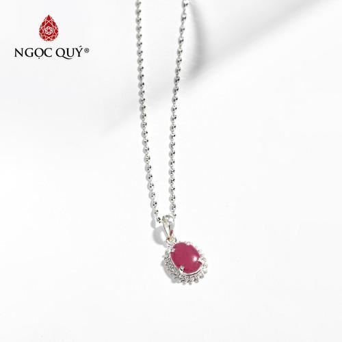 Dây chuyền đá ruby oval bọc bạc mệnh hoả, thổ - ngọc quý gemstones