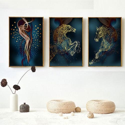 Bộ 3 tranh trang trí i tranh treo tường trừu tượng ngựa vàng fm01sd252