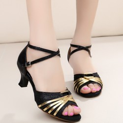Giày cao gót hở mũi khiêu vũ ánh kim màu đen-5cm